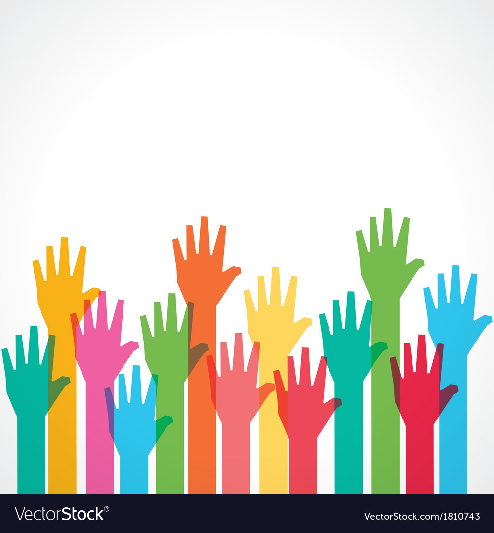 Colorful up hand background vector | Price: 1 Credit (USD $1)