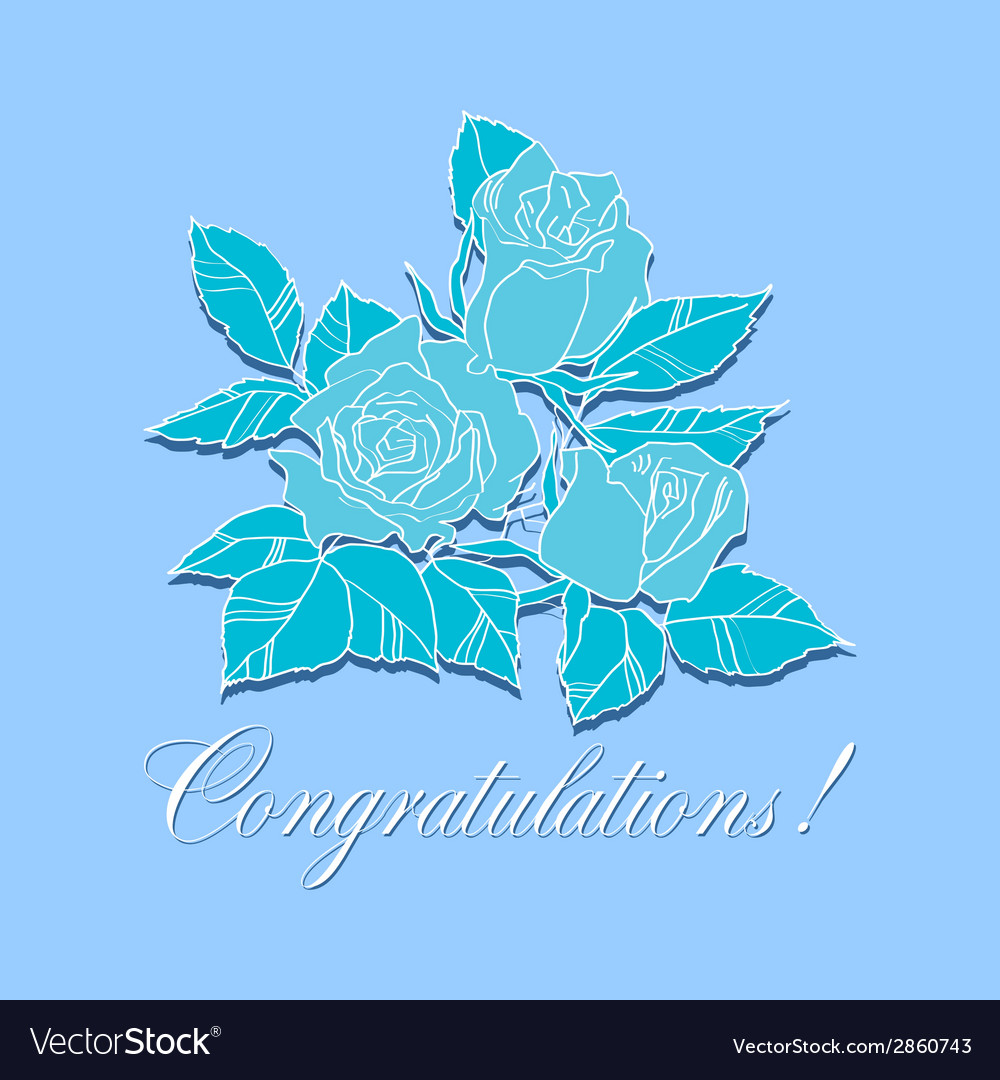 Congratulation  with roses vector | Price: 1 Credit (USD $1)
