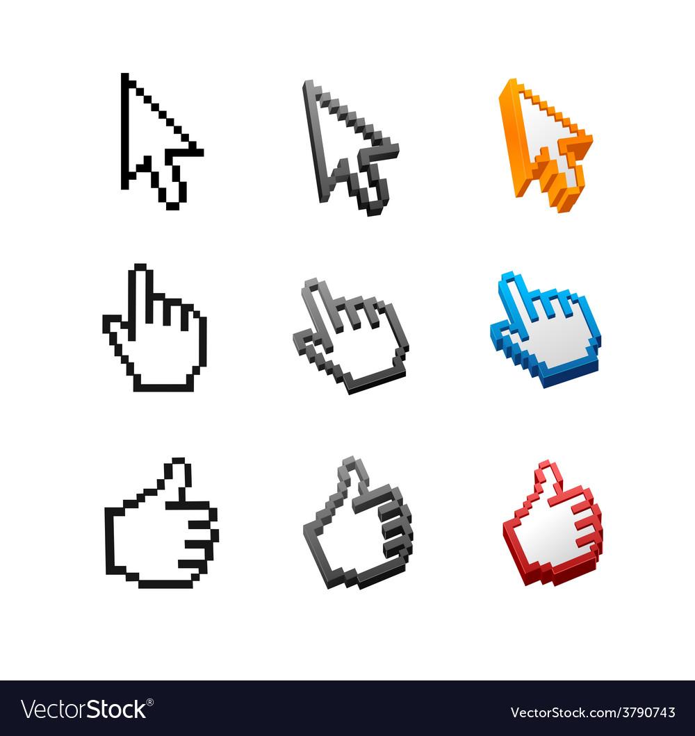 Cursors set arrow hand vector | Price: 1 Credit (USD $1)