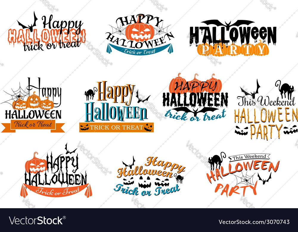 Different party halloween designs vector | Price: 1 Credit (USD $1)