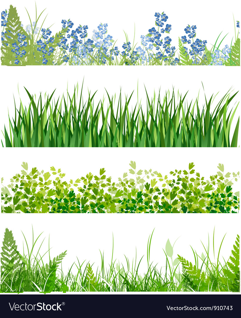 Green grass floral banner collection vector | Price: 1 Credit (USD $1)