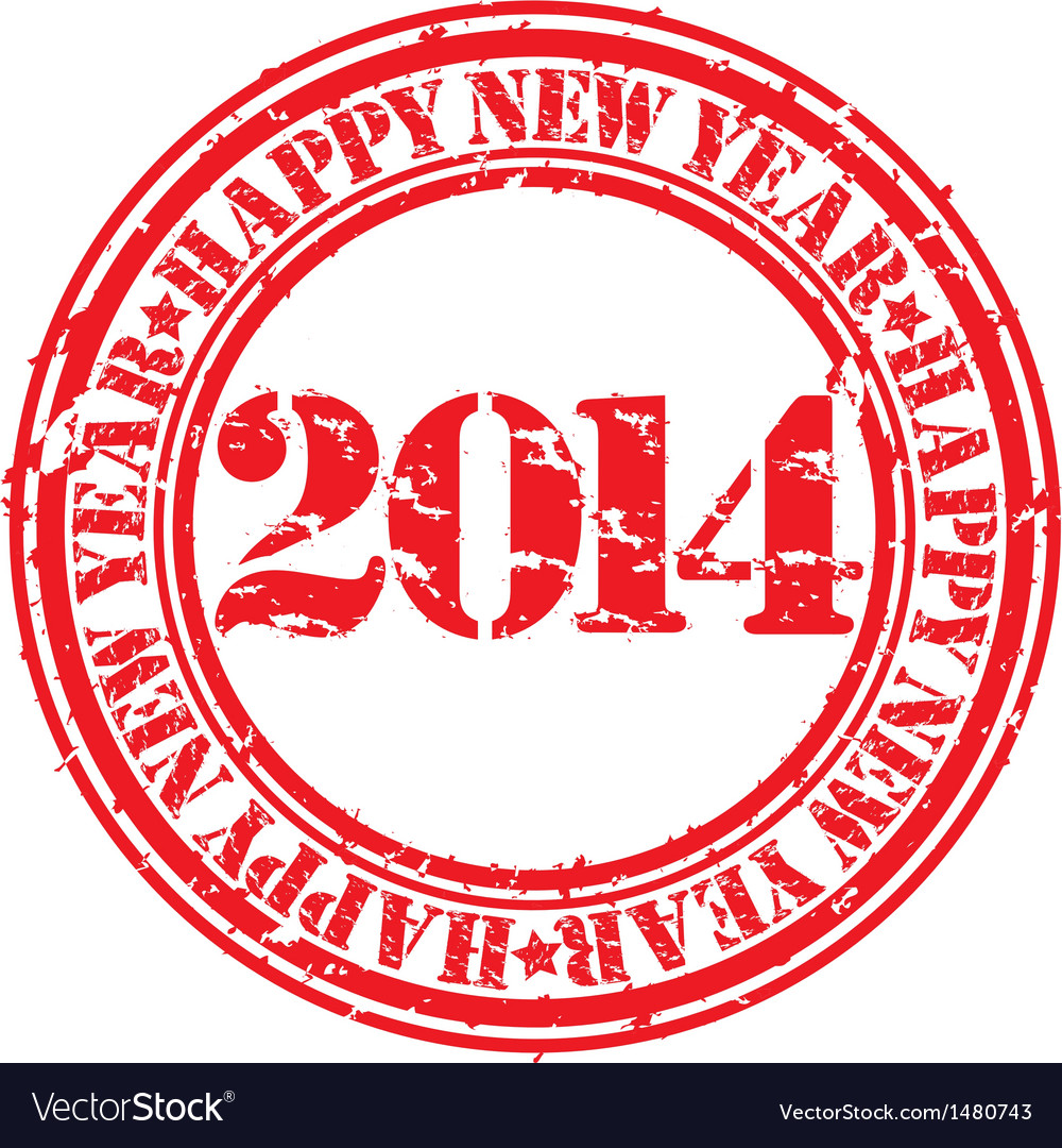 Happy new 2014 year gunge stamp vector | Price: 1 Credit (USD $1)