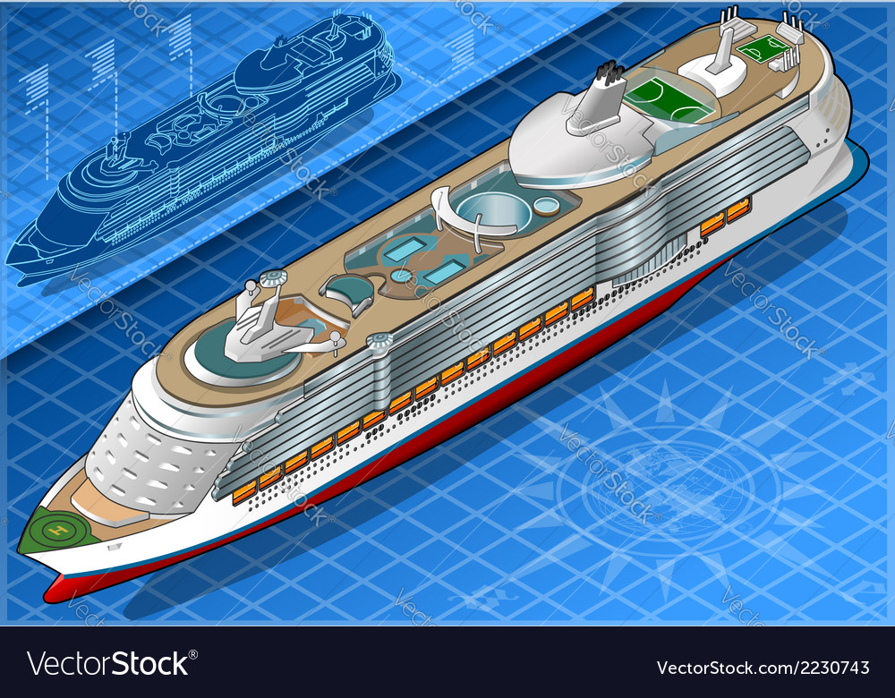 Isometric cruise ship in front view vector | Price: 1 Credit (USD $1)