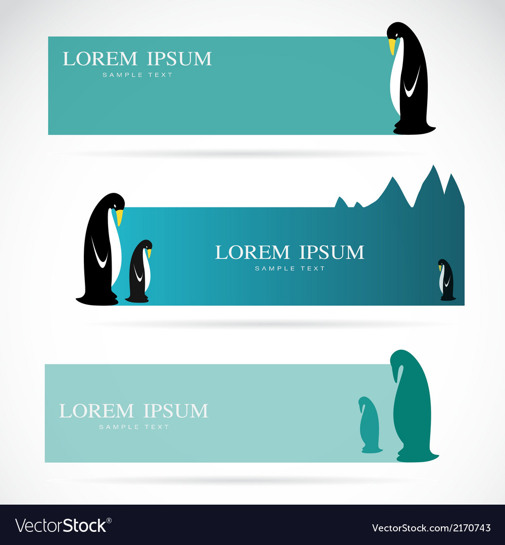 Penguin banners vector | Price: 1 Credit (USD $1)