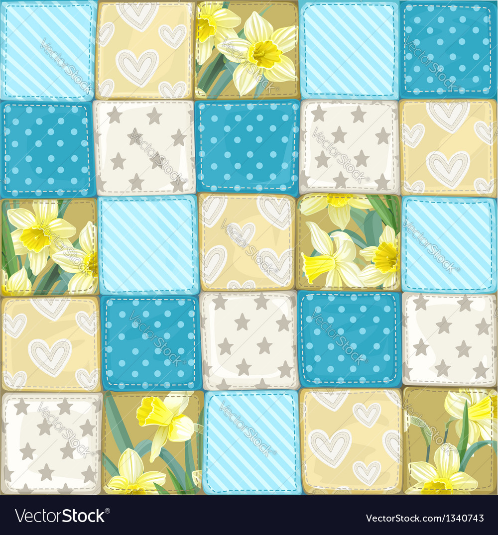 Seamless pattern from blue scrappy blanket vector | Price: 1 Credit (USD $1)