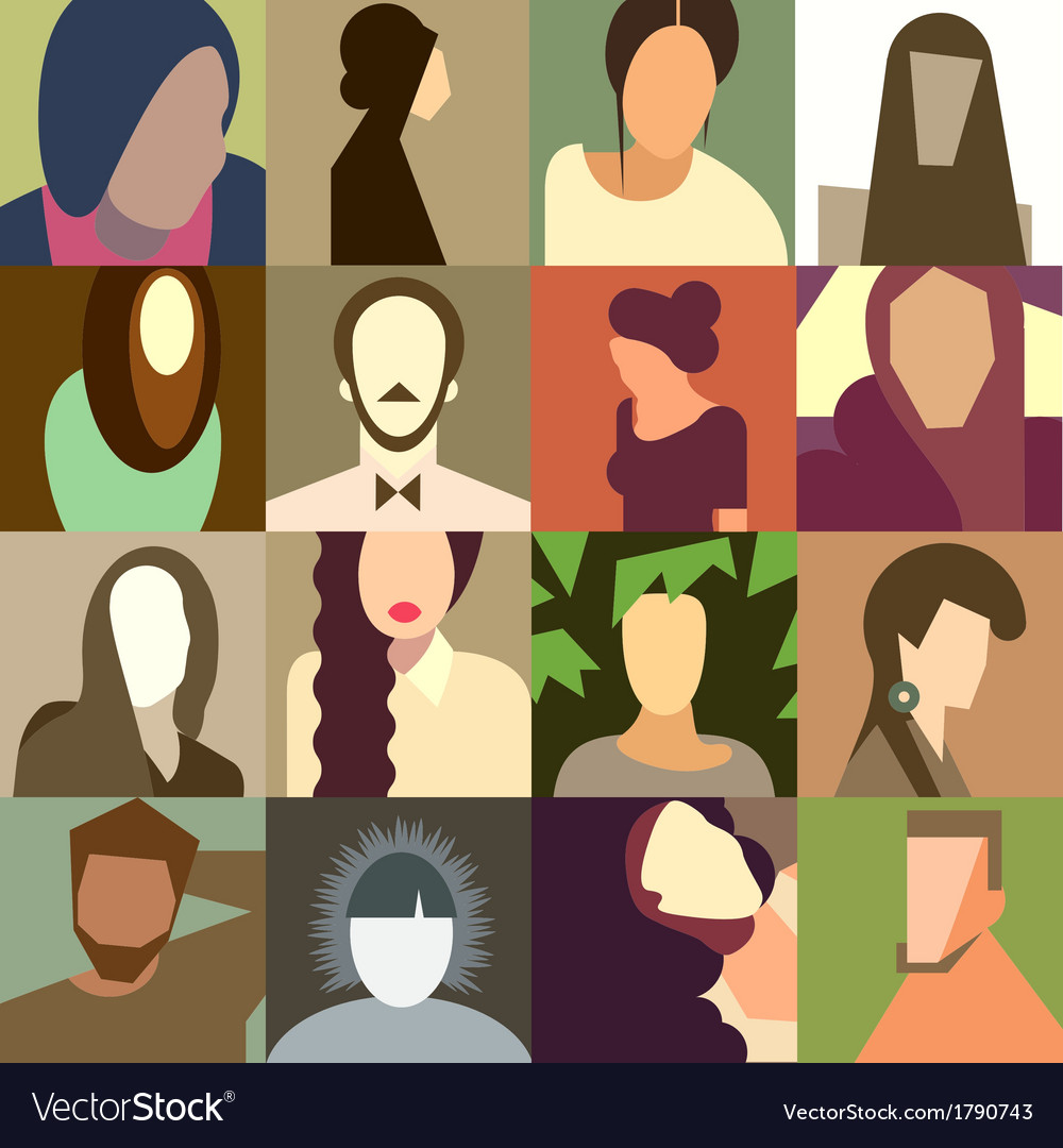 Set of various avatar faces vector | Price: 1 Credit (USD $1)