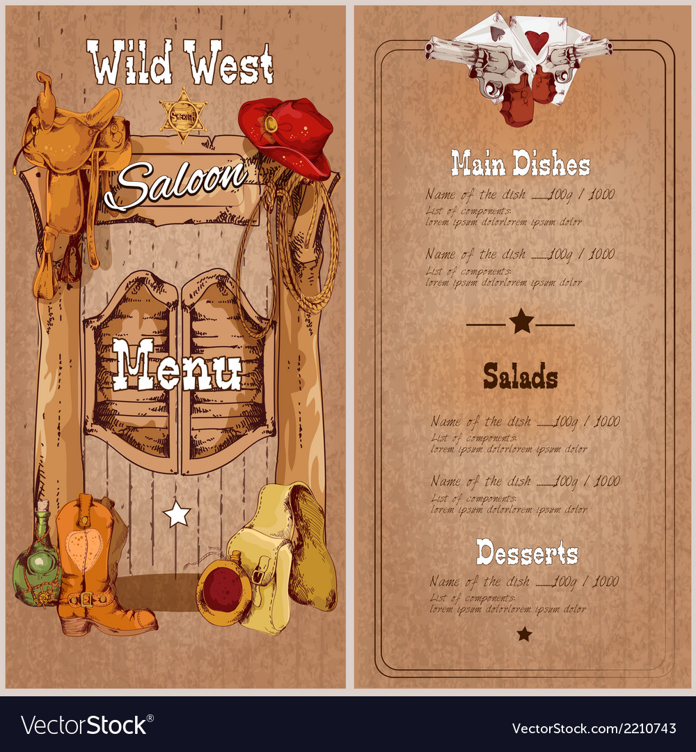 Wild west saloon menu vector | Price: 1 Credit (USD $1)