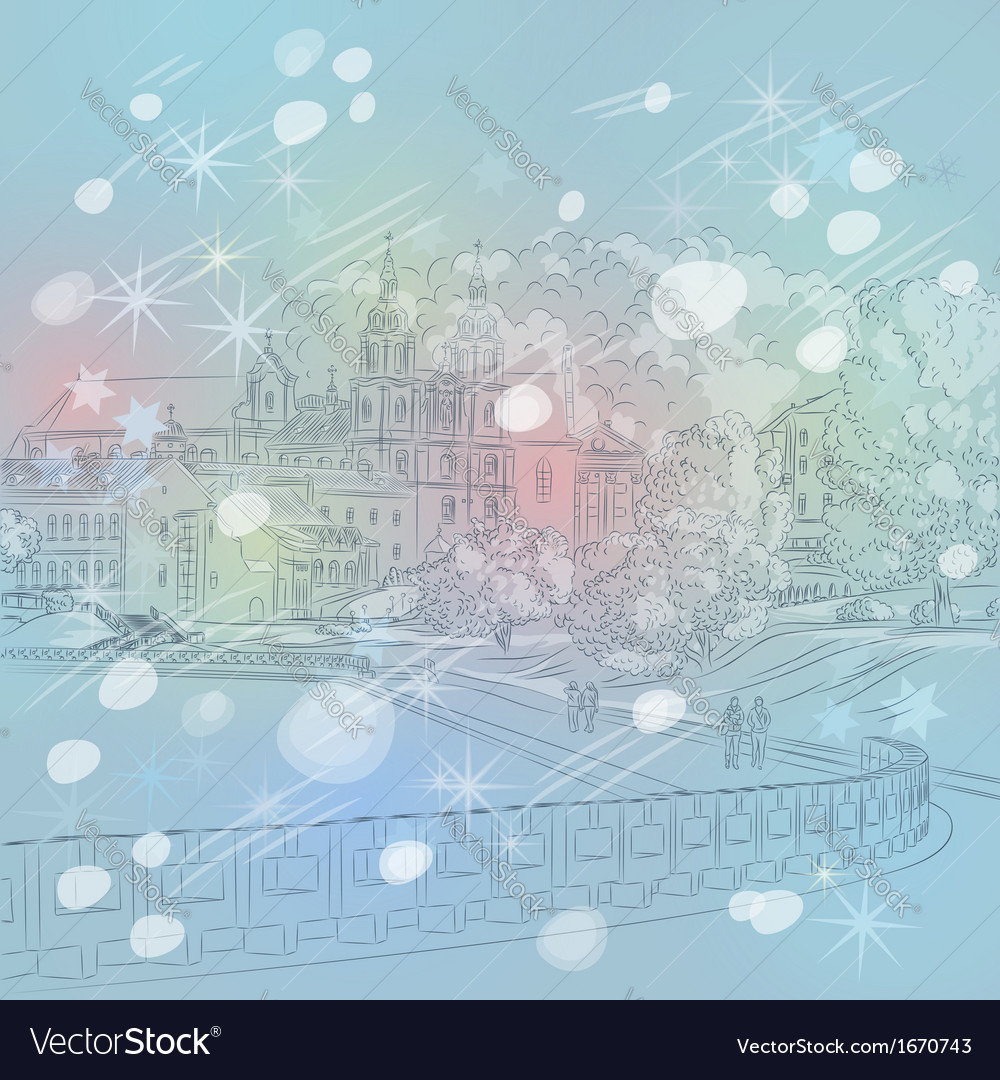 Winter christmas sketch of a old town cityscape vector | Price: 1 Credit (USD $1)