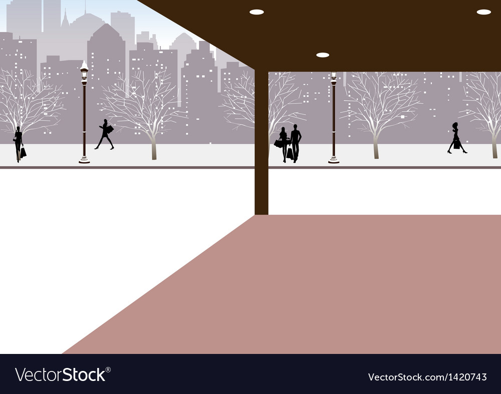 Winter city street scene vector | Price: 1 Credit (USD $1)