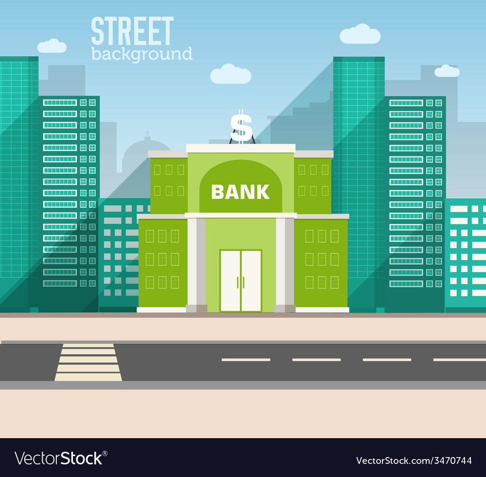 Bank building in city space with road on flat vector | Price: 1 Credit (USD $1)