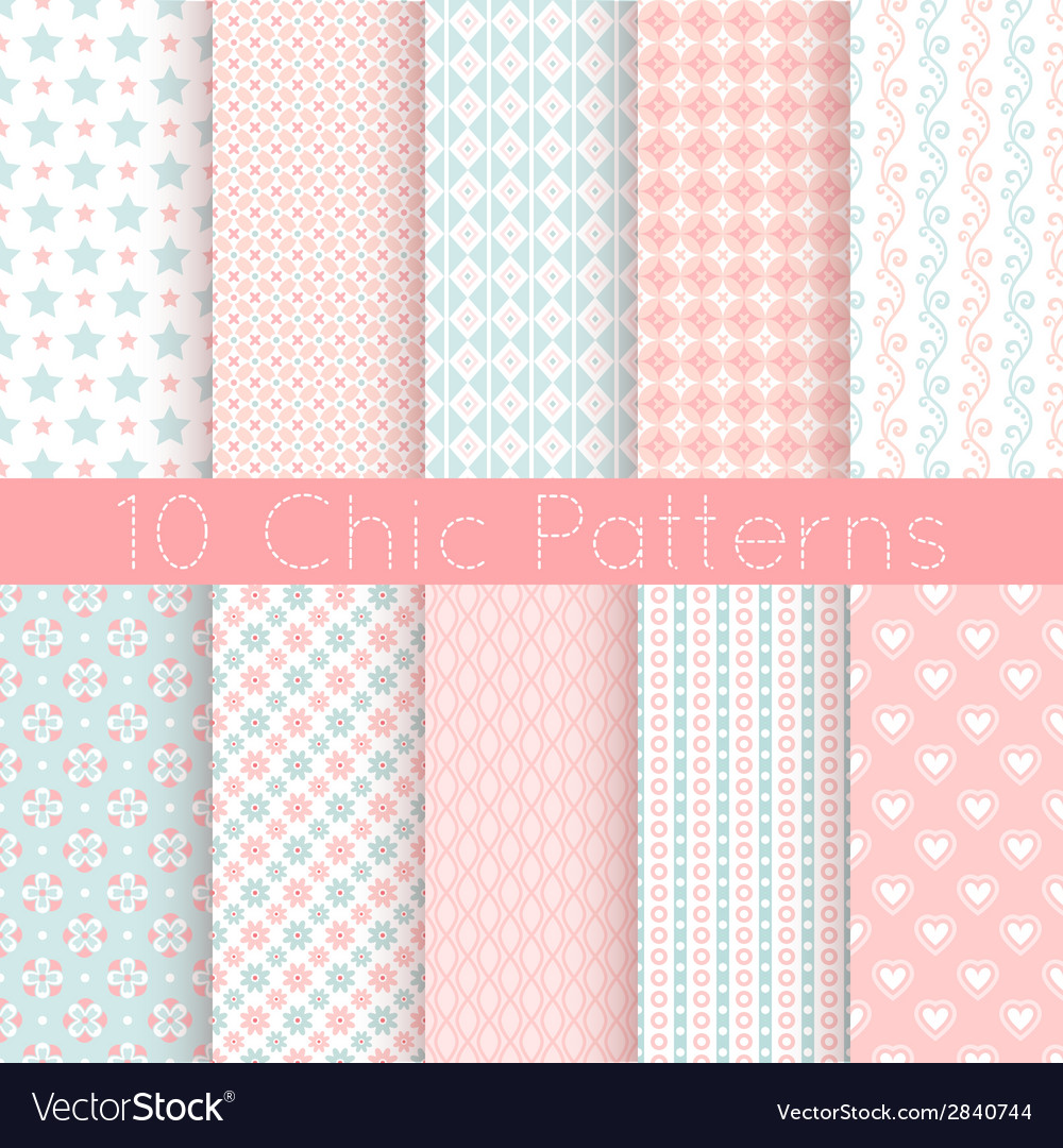 Chic different seamless patterns pink white and vector | Price: 1 Credit (USD $1)