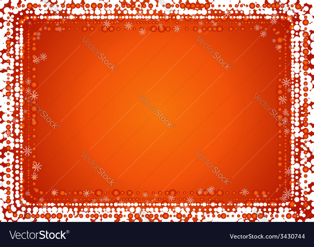 Christmas red background with border of snowflakes vector | Price: 1 Credit (USD $1)