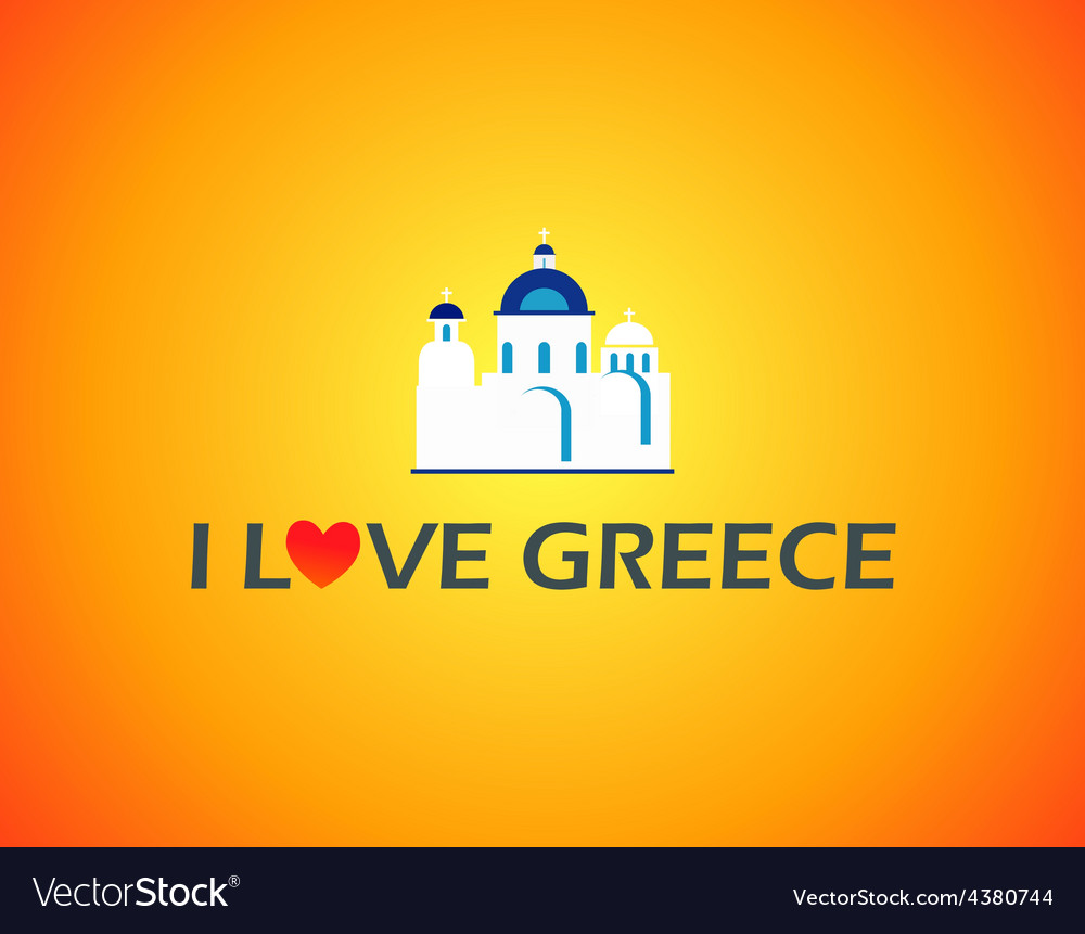 Church in greece vector | Price: 1 Credit (USD $1)