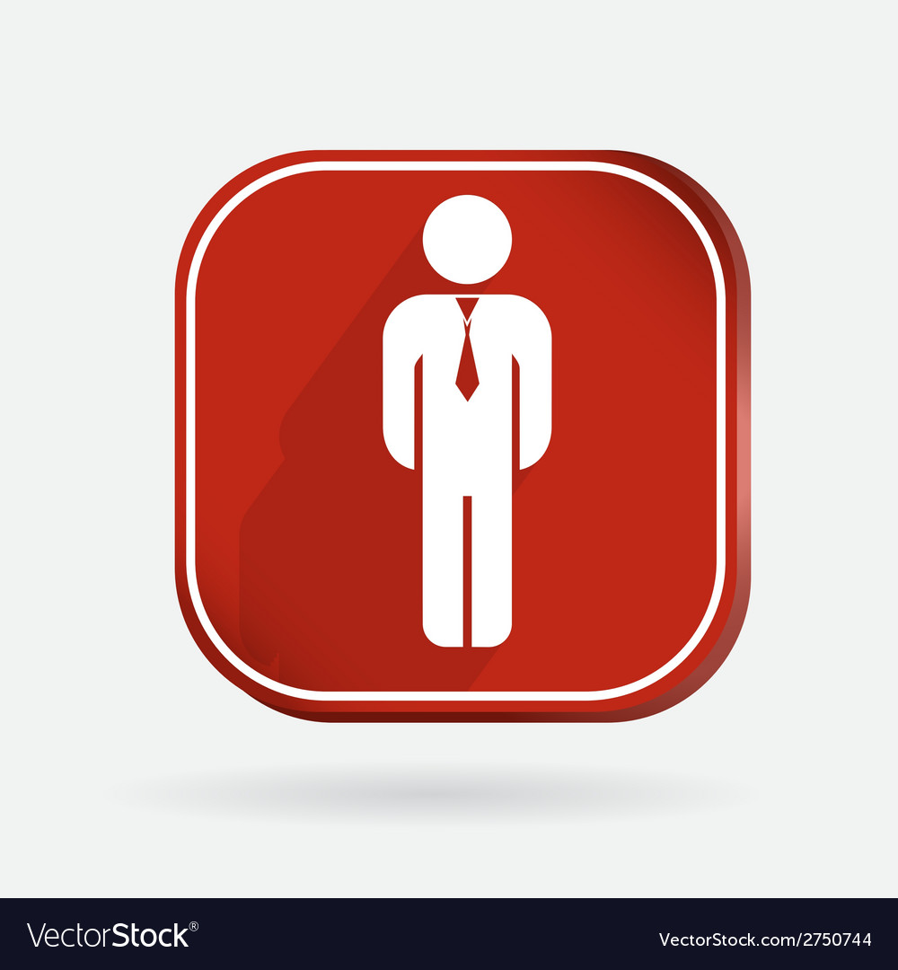 Color icon with shadow business man in a tie vector | Price: 1 Credit (USD $1)