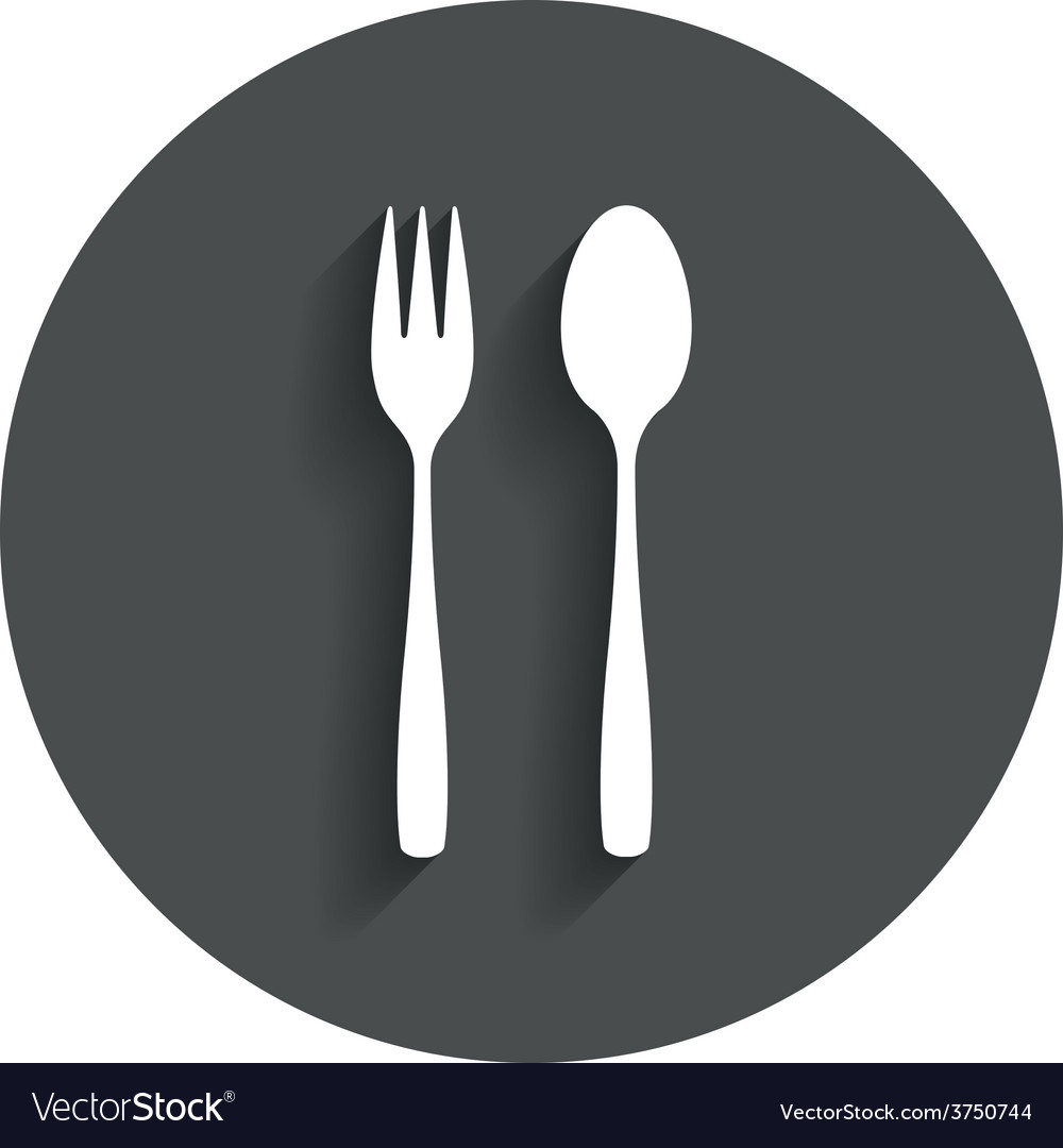 Eat sign icon dessert fork and teaspoon vector | Price: 1 Credit (USD $1)
