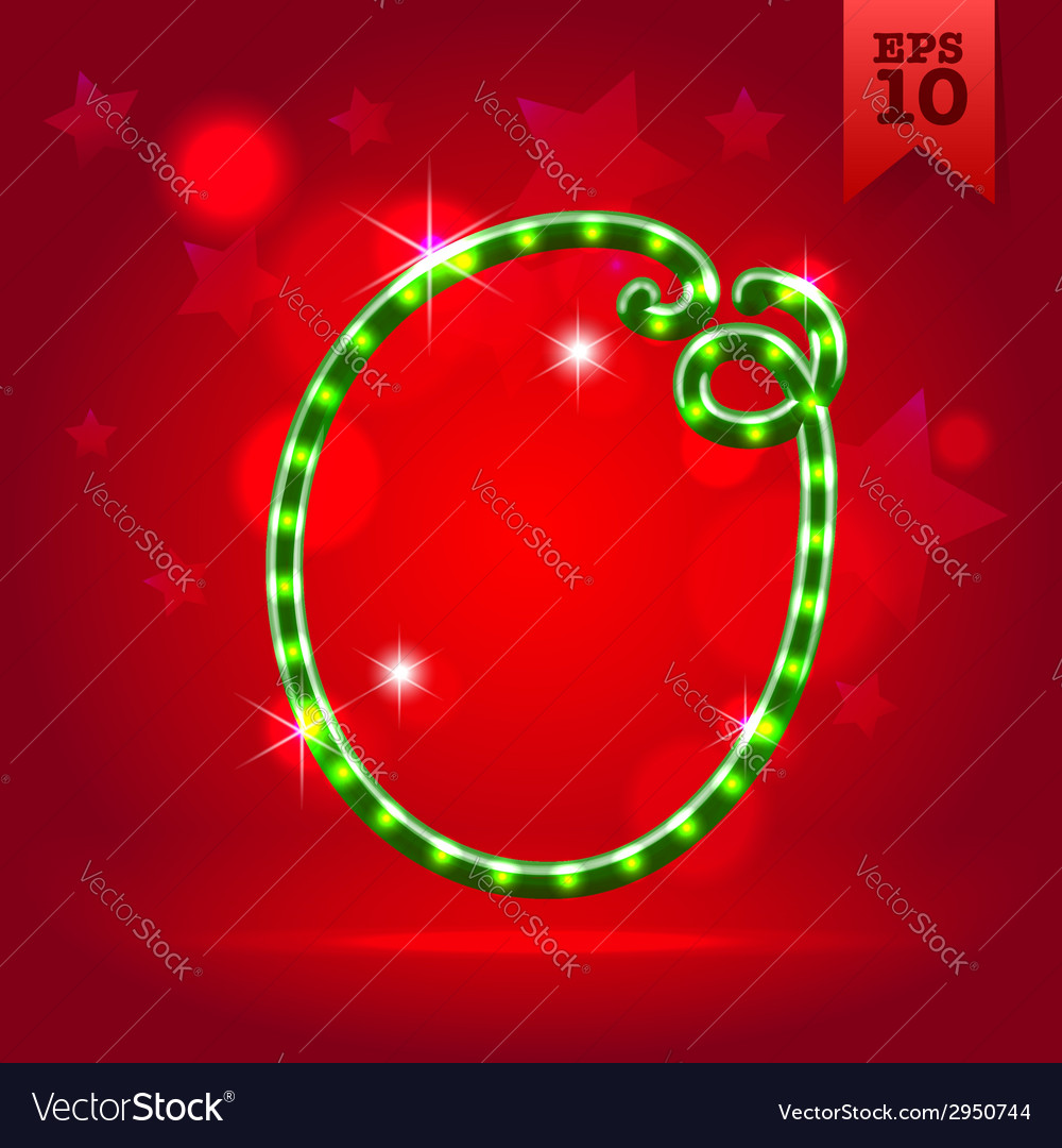 Electric green garland christmas new year abc vector | Price: 1 Credit (USD $1)