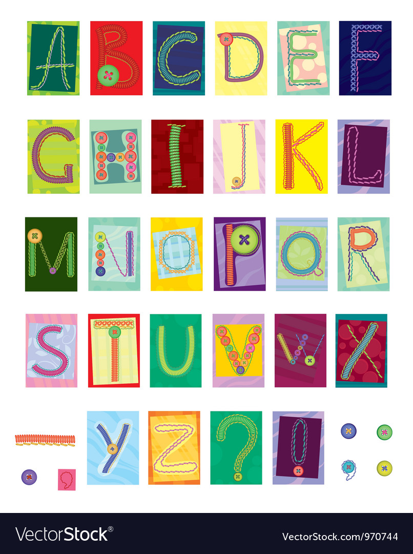 Embroidered letters textile vector | Price: 1 Credit (USD $1)