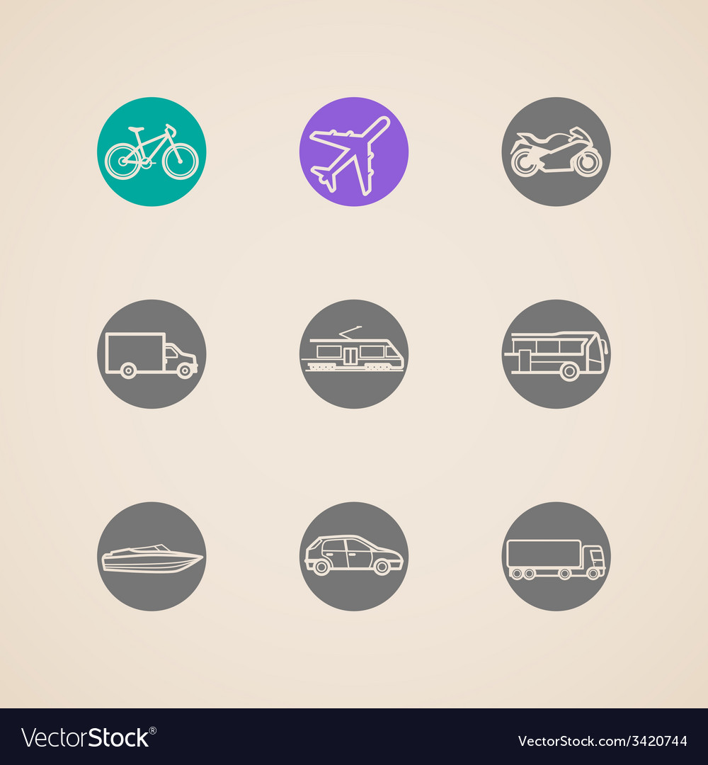 Flat icons with different modes of transport vector | Price: 1 Credit (USD $1)