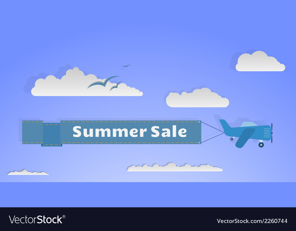 Flying plane with banner copy vector