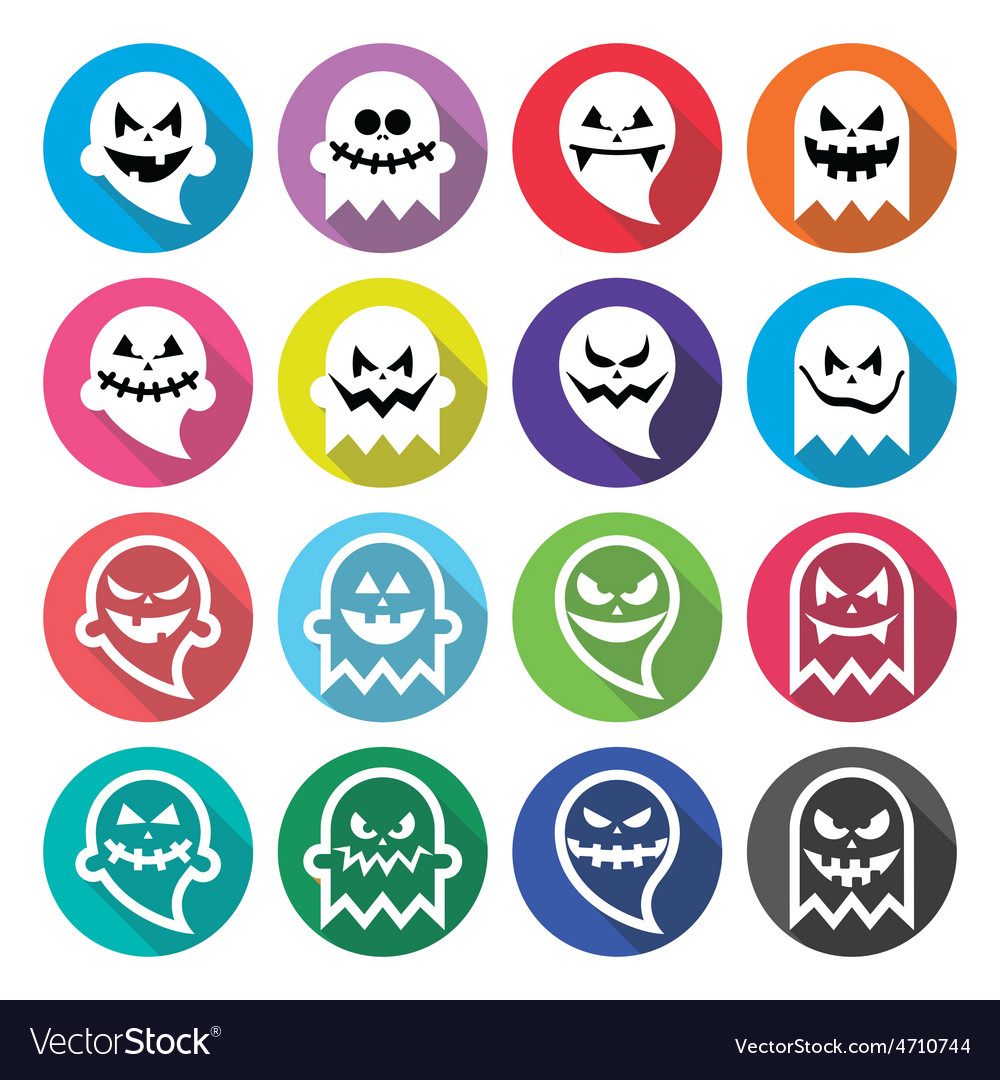 Halloween scary ghost spirit flat design icons vector | Price: 1 Credit (USD $1)