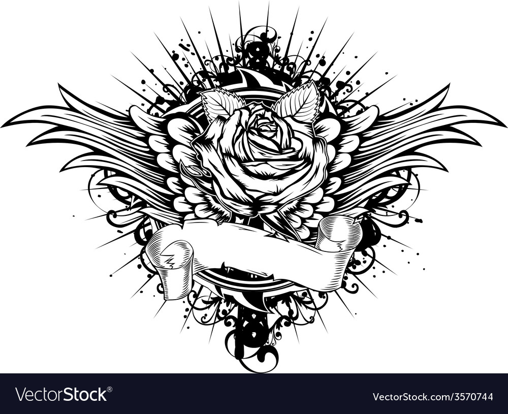 Rose wings patterns vector | Price: 1 Credit (USD $1)