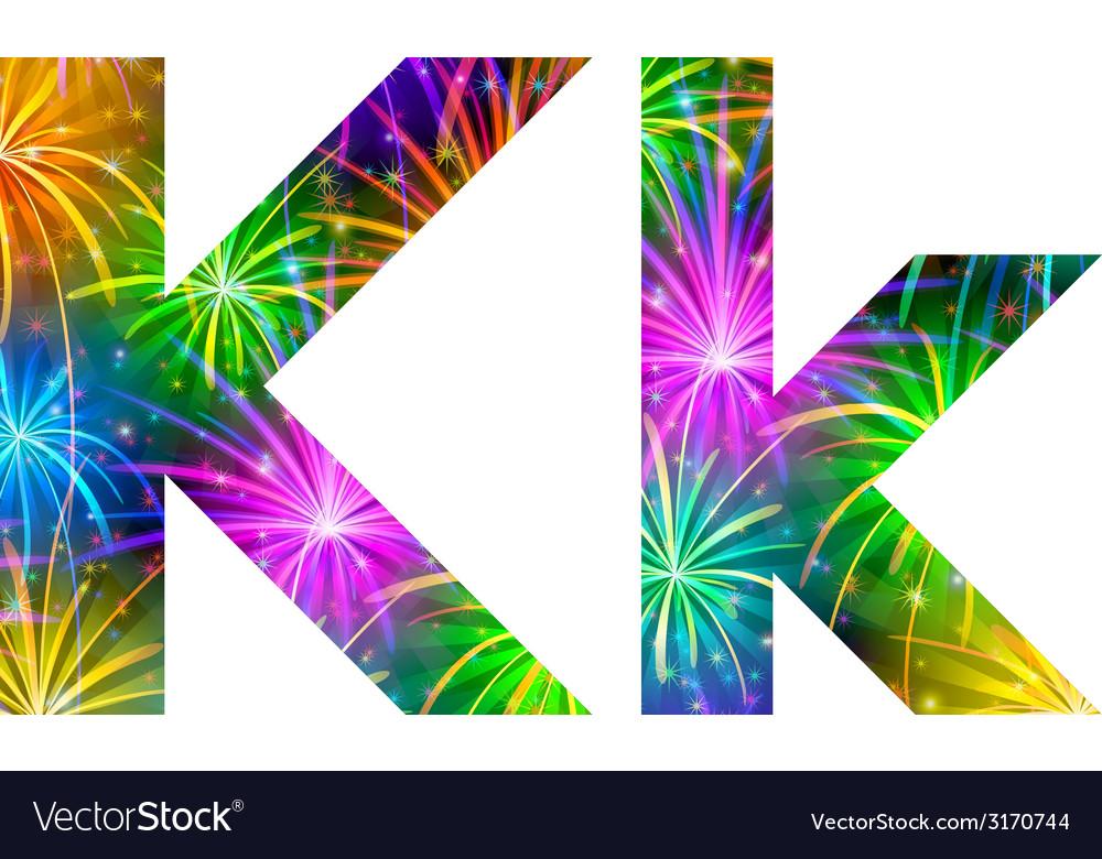 Set of letters firework k vector | Price: 1 Credit (USD $1)