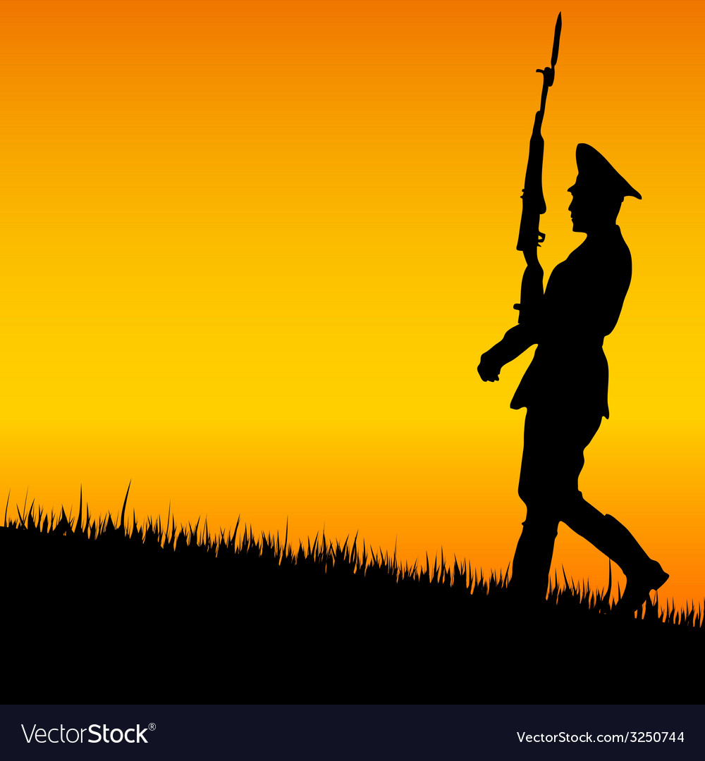 Soldier on guard in nature vector | Price: 1 Credit (USD $1)