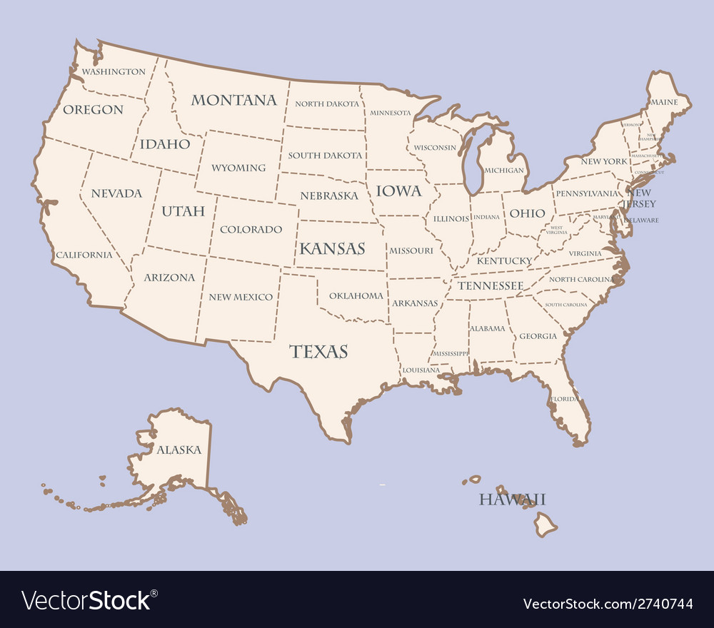 Usa map with states names vector | Price: 1 Credit (USD $1)