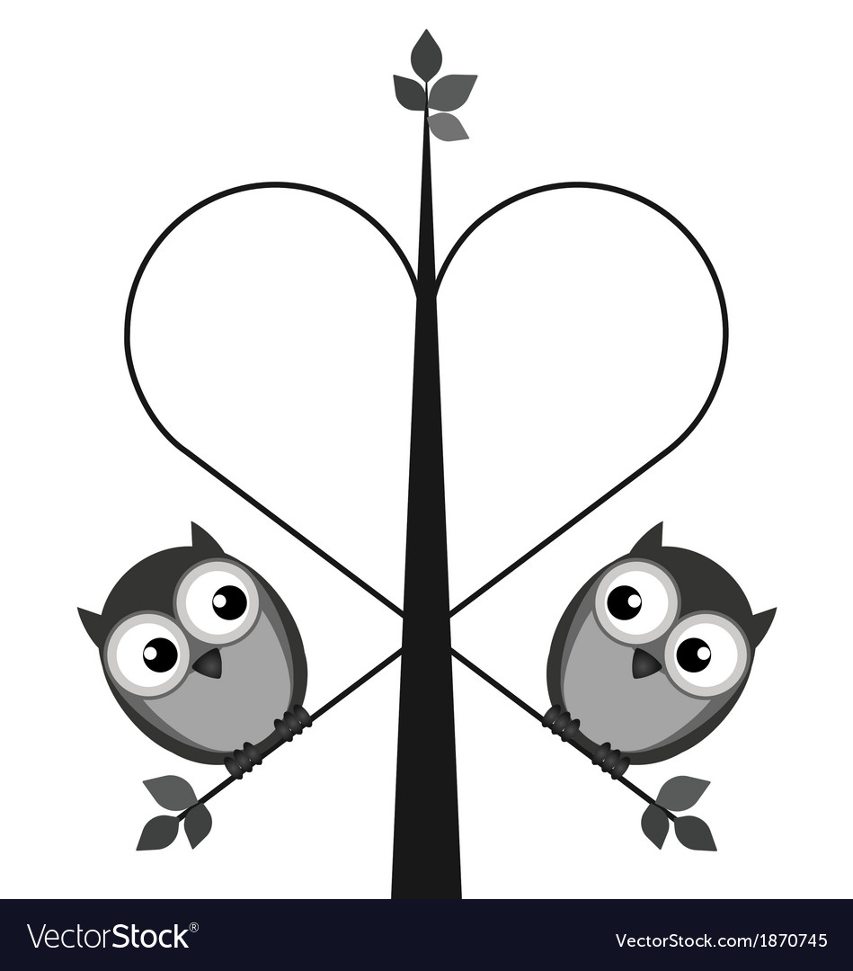 Owl tree heart vector | Price: 1 Credit (USD $1)