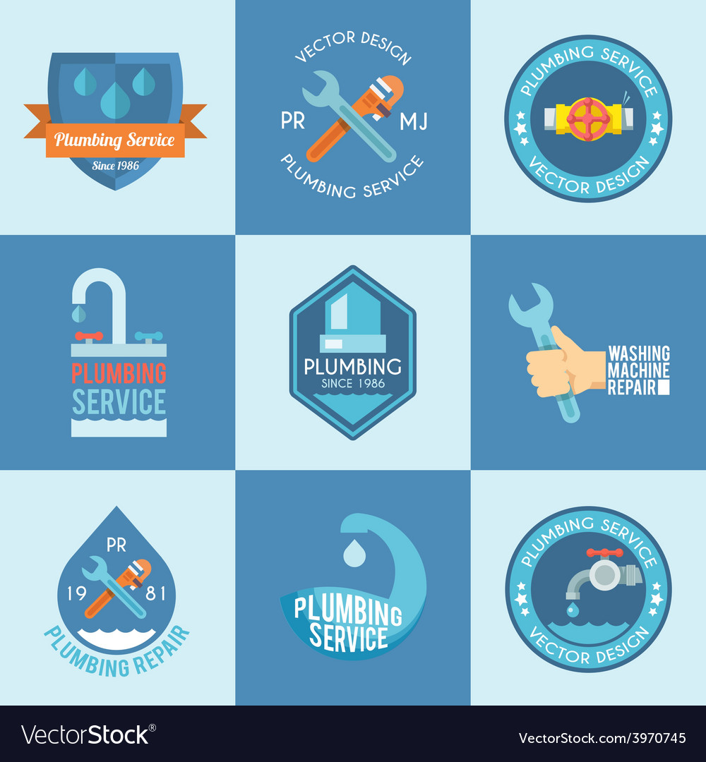 Plumbing labels icons set vector | Price: 1 Credit (USD $1)