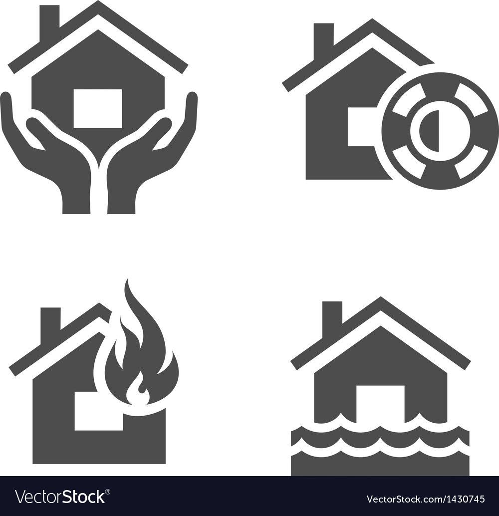 Property insurance icons vector | Price: 1 Credit (USD $1)