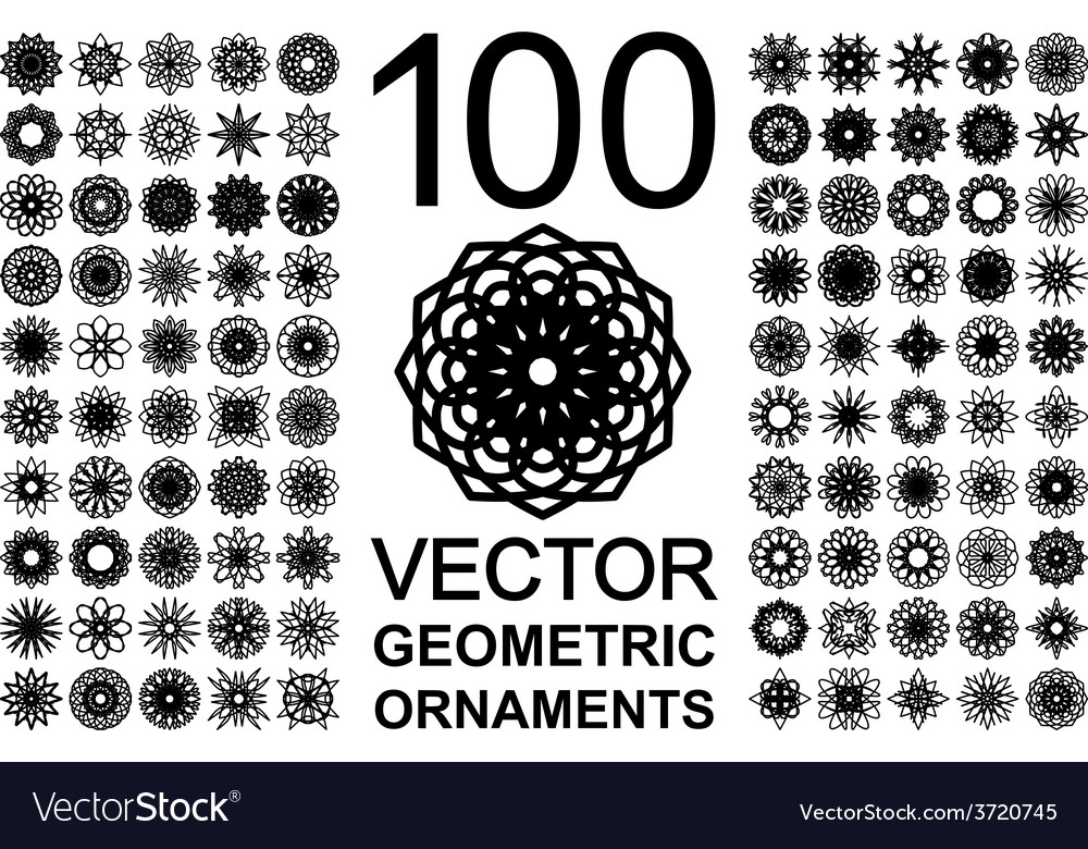 Round ornament set vector