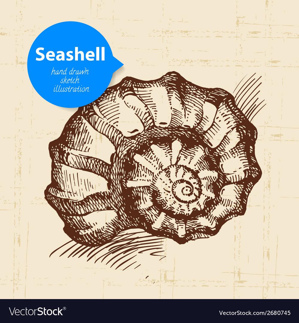 Seashell hand drawn sketch vector | Price: 1 Credit (USD $1)