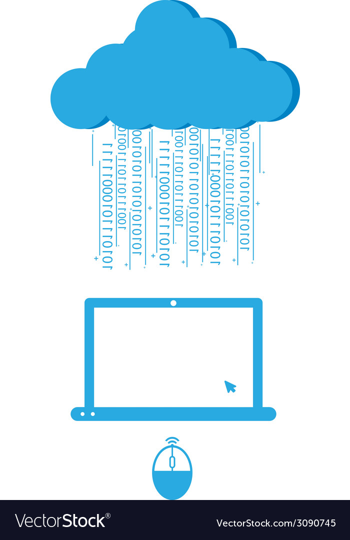 Social network background with computer and cloud vector | Price: 1 Credit (USD $1)