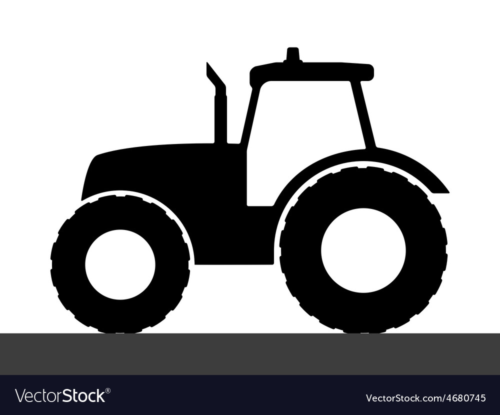 Tractor silhouette on a white background vector | Price: 1 Credit (USD $1)