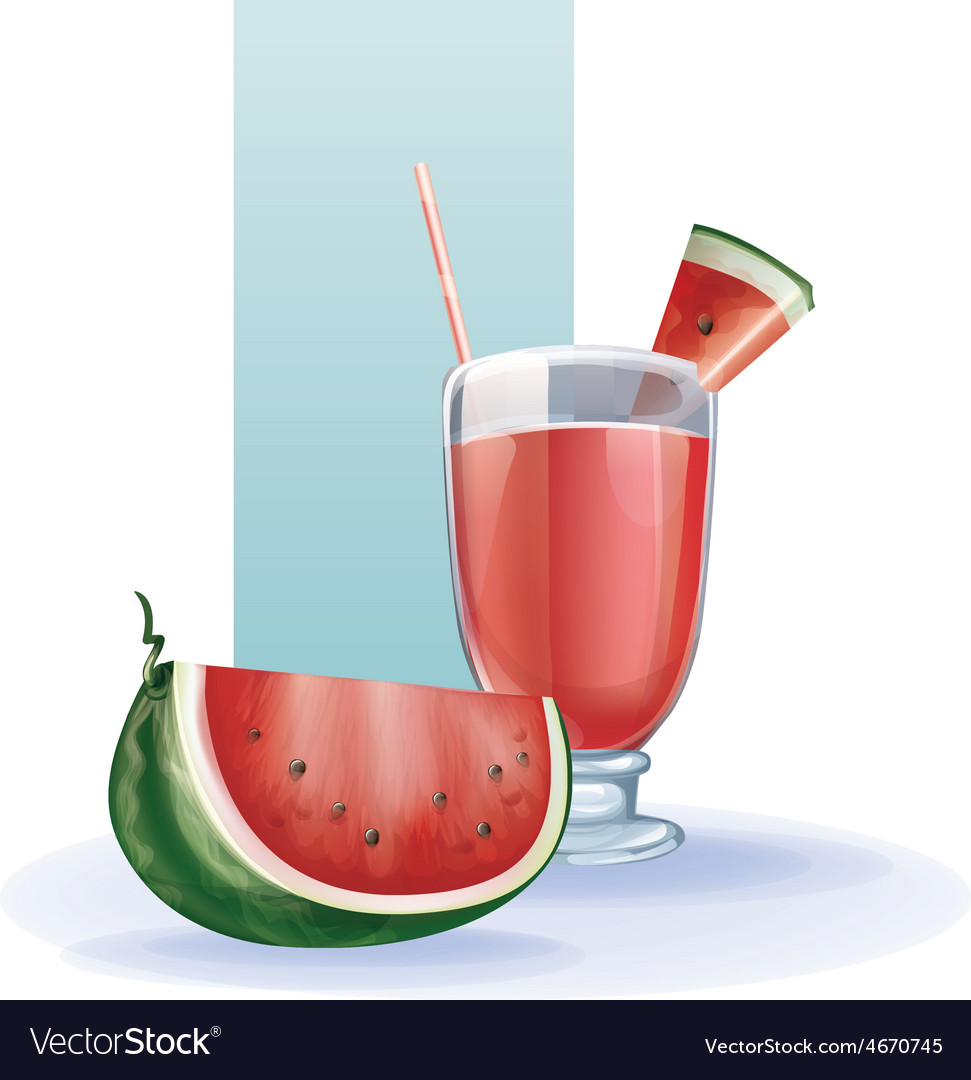 Watermelon in goblet of juice cocktail smoothie vector | Price: 1 Credit (USD $1)
