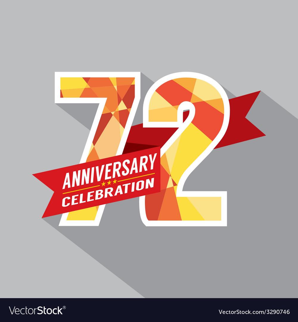 72nd years anniversary celebration design vector | Price: 1 Credit (USD $1)