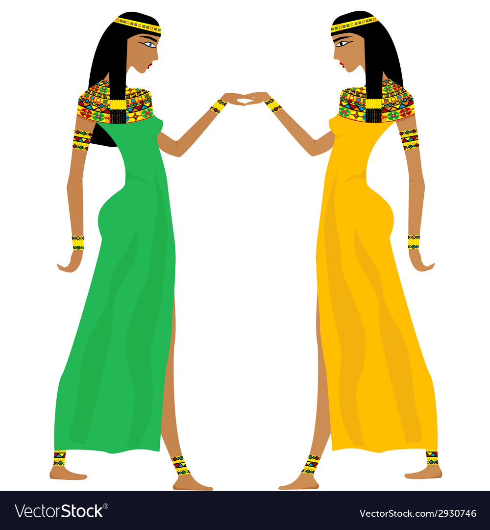 Ancient egyptian women dancing vector | Price: 1 Credit (USD $1)
