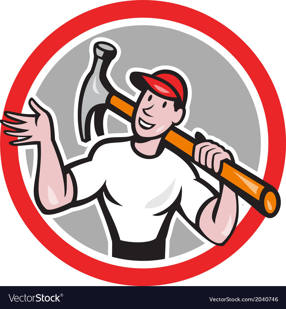 Carpenter builder hammer circle cartoon vector | Price: 1 Credit (USD $1)