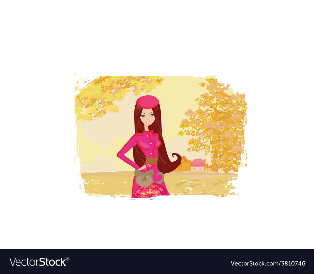 Girl walking with her dog in autumn landscape vector | Price: 1 Credit (USD $1)