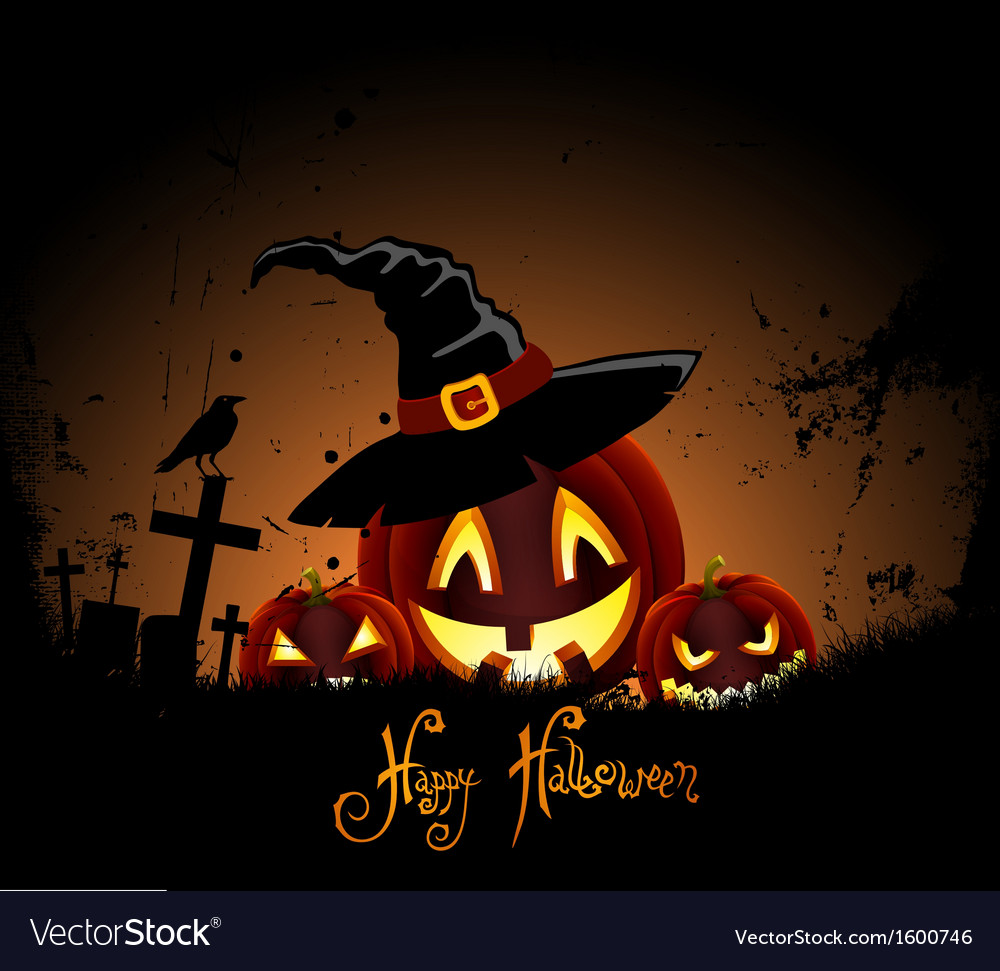 Grunge background for halloween party with pumpkin vector | Price: 1 Credit (USD $1)