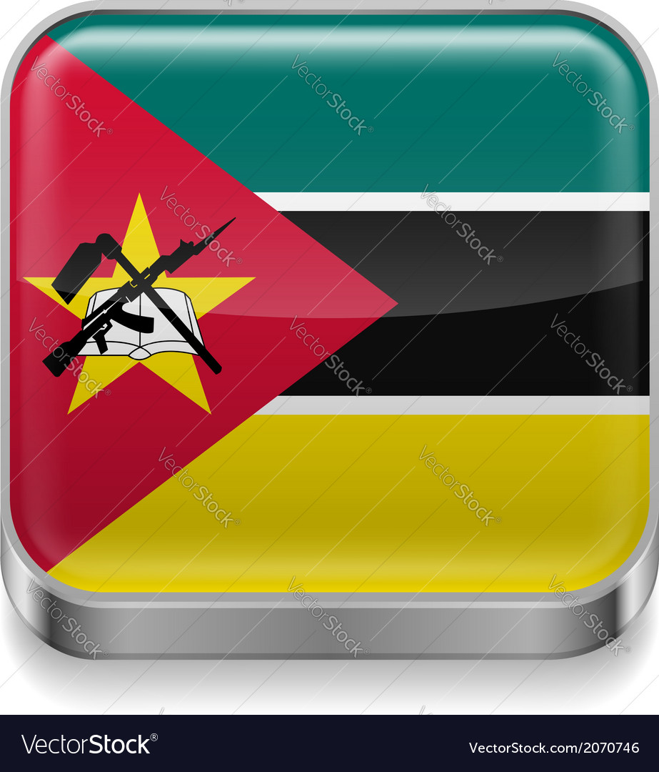 Metal icon of mozambique vector | Price: 1 Credit (USD $1)