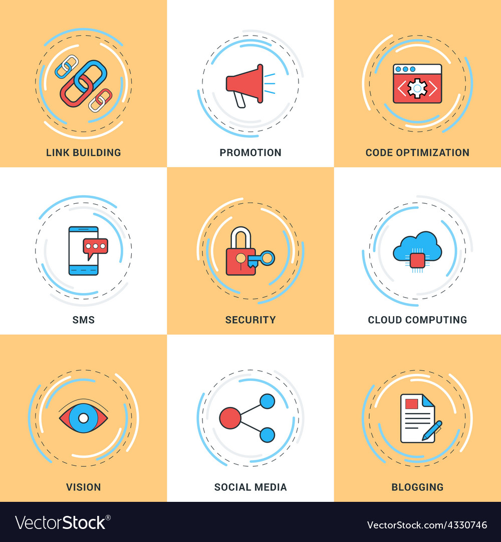 Modern line icons set security search engine vector | Price: 1 Credit (USD $1)