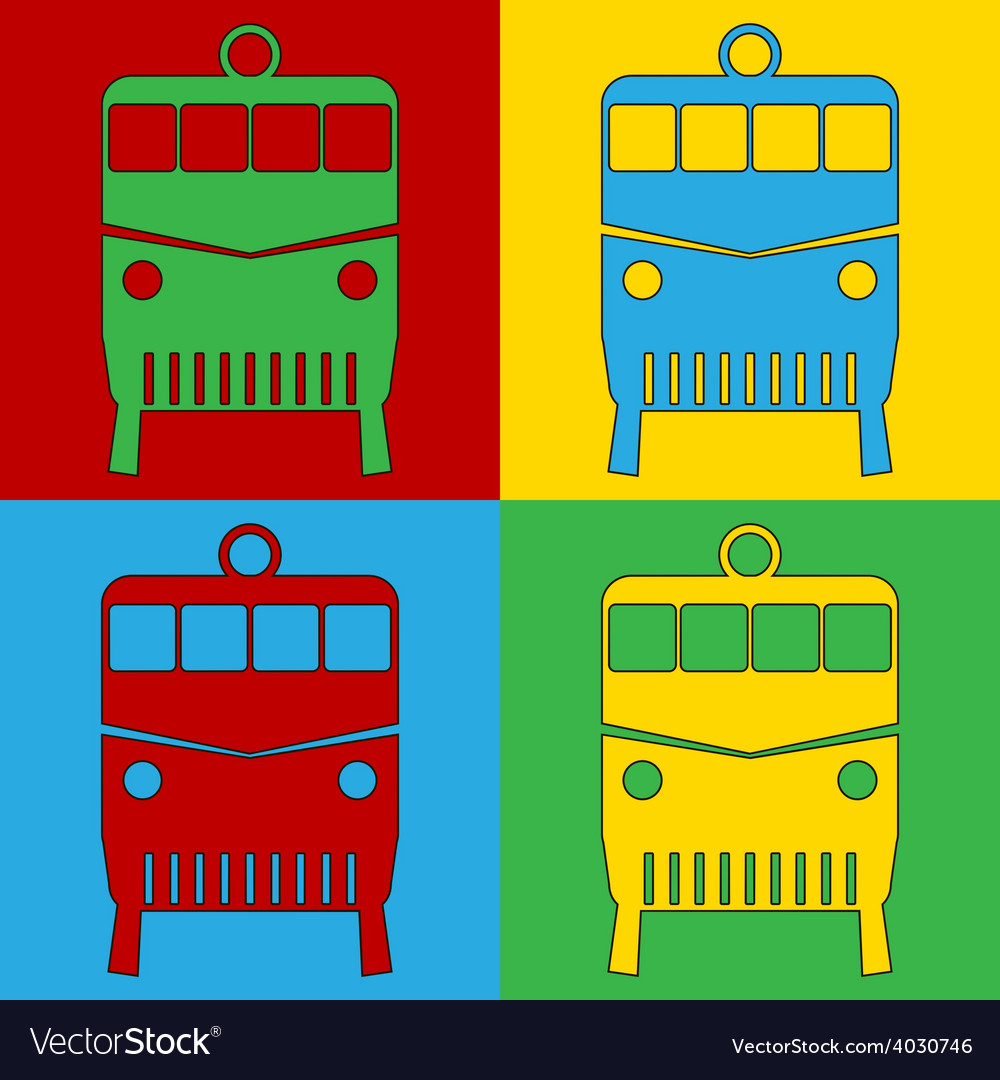 Pop art locomotive icons vector | Price: 1 Credit (USD $1)