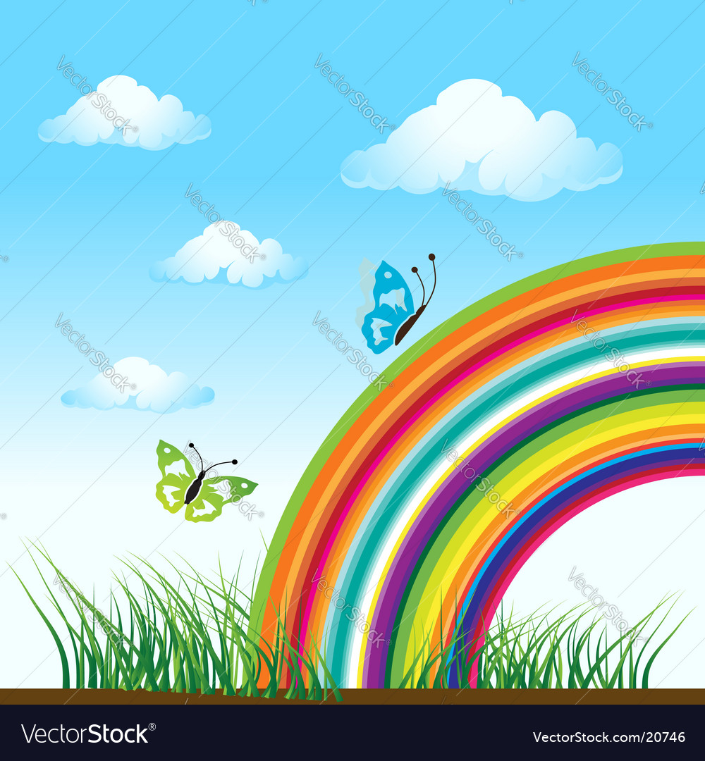 Rainbow nature butterfly vector | Price: 1 Credit (USD $1)