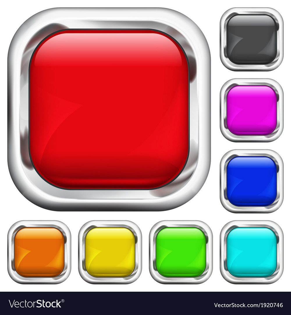 Set of square multicolored buttons vector | Price: 1 Credit (USD $1)