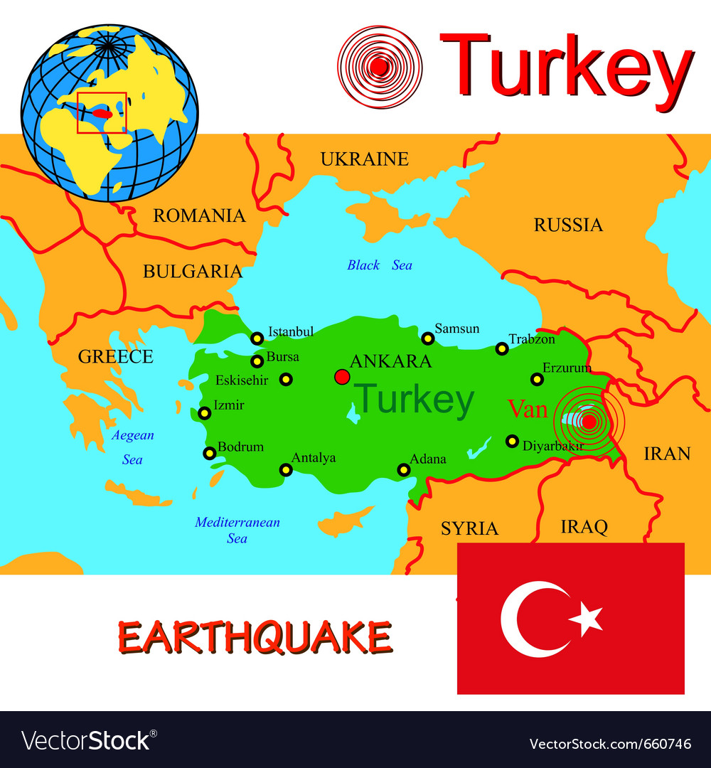 Turkey map with epicenter earthquake vector | Price: 1 Credit (USD $1)