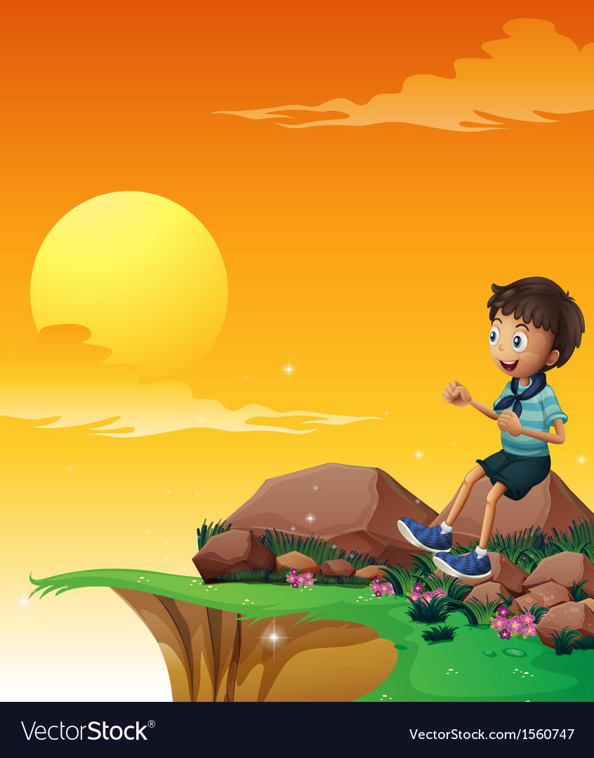 A happy boy sitting at the big rock near the cliff vector | Price: 3 Credit (USD $3)