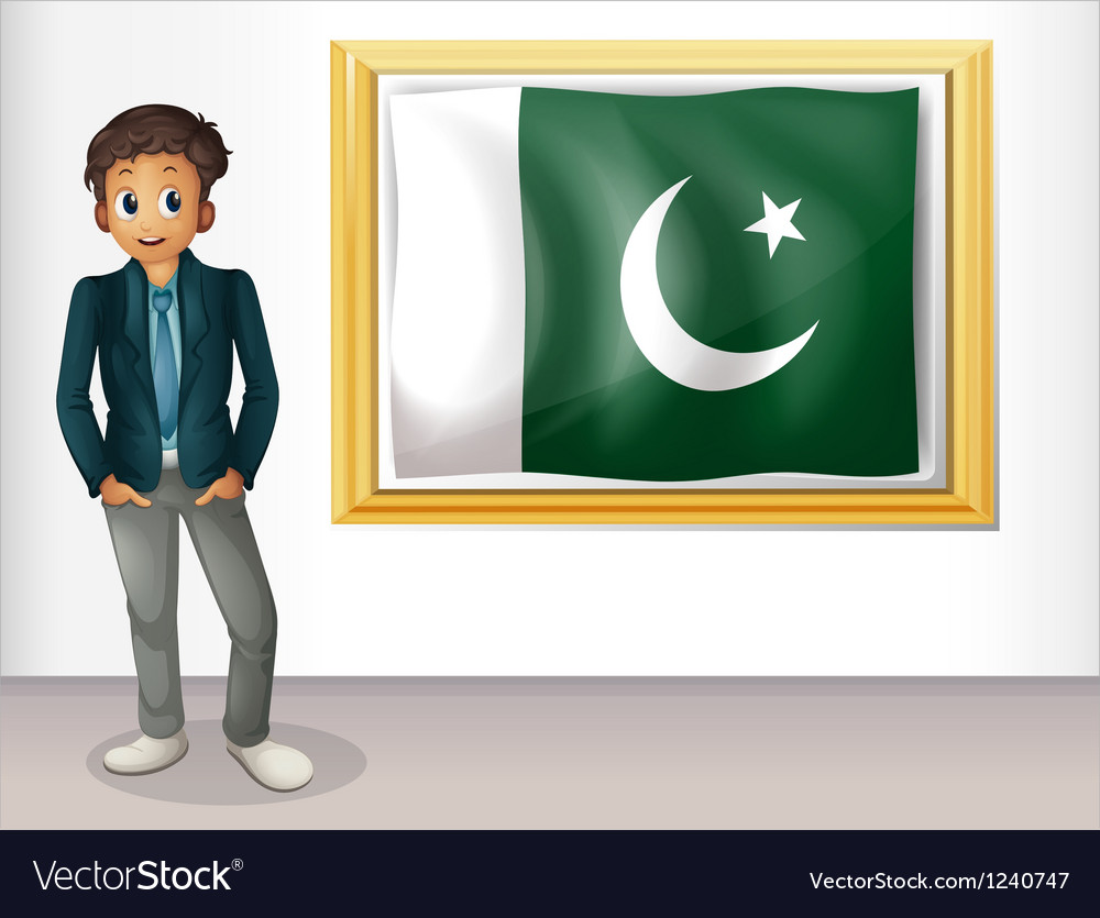 A man beside the framed flag of pakistan vector | Price: 1 Credit (USD $1)