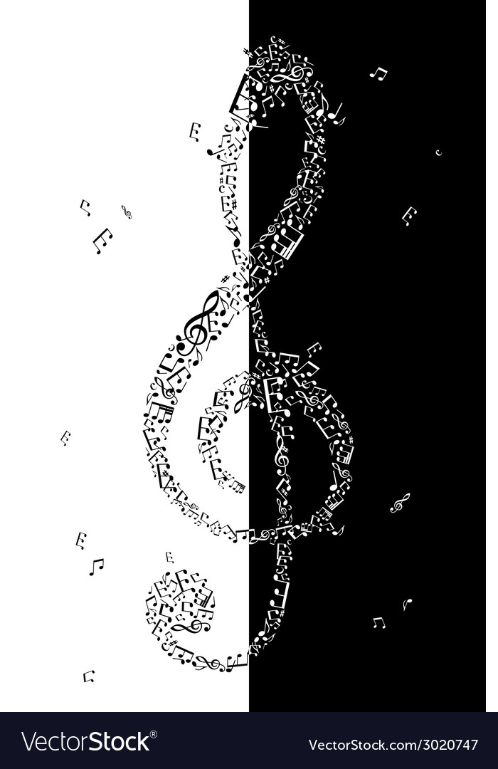 Black and white of treble clef vector | Price: 1 Credit (USD $1)